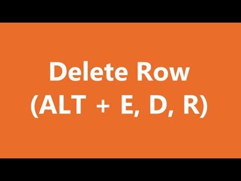 Excel Shortcuts - Delete Row