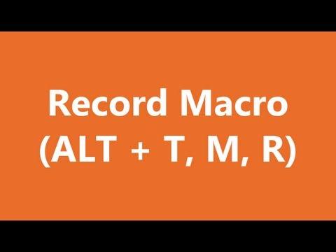 Excel Shortcuts - Record Macro