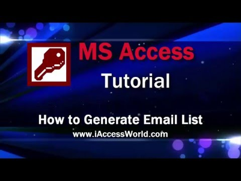 How to Generate Email List from MS Excel