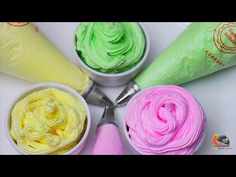 केक सजाने के लिए हर रंग के व्हिपड क्रीम कैसे बनाएं ।How to make Colourful whipped cream recipe Cake
