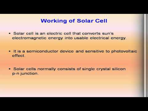 photo voltaic conversion, effect, working principle of solar cell &  applications