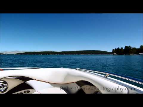 Driving Walloon Lake In Malibu Wakeboard Boat Part 1