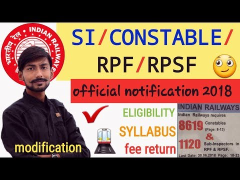 Railway RPF / RPSF / SI / CONSTABLE – OFFICIAL NOTIFICATION 2018 | ALL DETAILS & MY OPINIONS