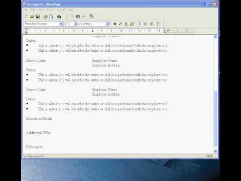 Create a CV in Wordpad
