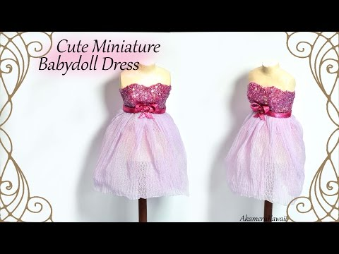 Sparkly Miniature Babydoll Dress - Fabric Doll Tutorial