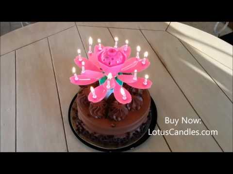 Pink Lotus Candle on Chocolate Cake!