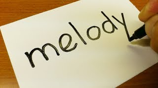 Very Easy ! How to turn words MELODY into a Cartoon for kids -  How to draw doodle art on paper
