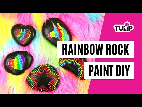 DIY Painted Rainbow Rocks using Puffy Paint