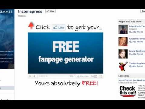 How to Make a Facebook Fan Page [free fanpage generator]