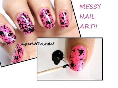 Spun Splatter! *Toothpick Nail Art Designs* Without Tools