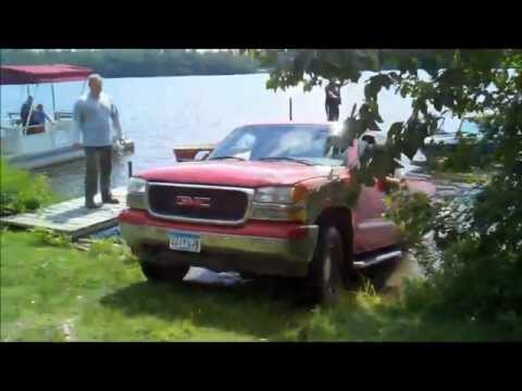 Truck & Boat Stuck in the Lake