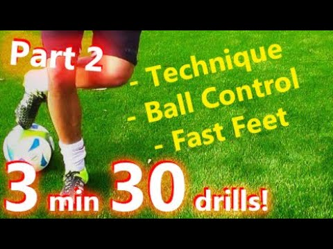 Ball Mastery l Coerver Coaching & Fast Footwork Part 2 - 30 *GREAT* Football drills for Ball Control
