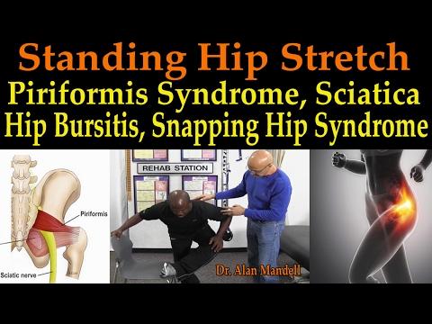Standing Hip Stretch for Piriformis Syndrome, Sciatica, Hip Bursitis, Sacroiliac - Dr Mandell