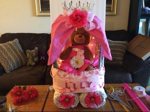 Princess Carriage diaper cake!!! How to Make a Theme Diaper Cake