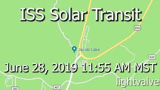 ISS Solar Transit Recorded Near Jacob Lake, Nikon Coolpix P1000