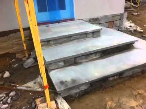 Flagstone steps with stone risers