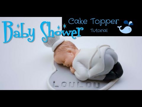 How to make fondant baby boy chef cake topper|baby shower cake topper for boy|