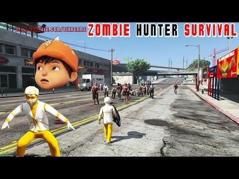 GTA 5 mods anak BoBoiBoy solar vs zombie attack #BoboiboyGalaxy