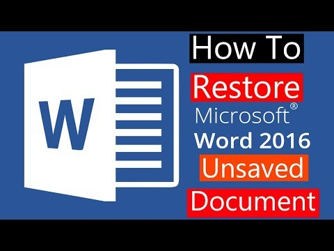How to Restore Unsaved Word 2016 document