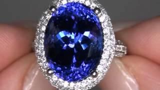 "Natalie Portman Estate Consignment D-Block ""Flawless"" Tanzanite & Diamond Ring Set In Solid Platinum"