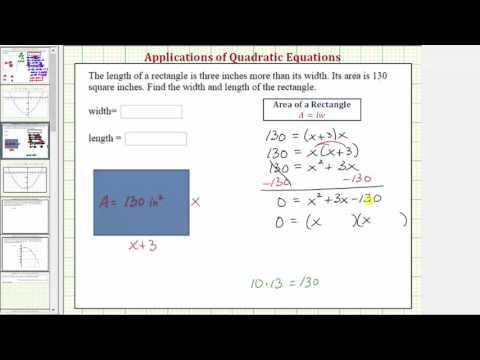 Ex 2: Quadratic Equation App - Find the Dimensions of a Rectangle Given Area (Factoring)