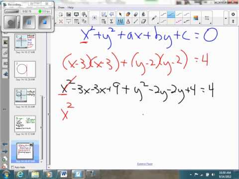 Standard form to general form equation of a circle
