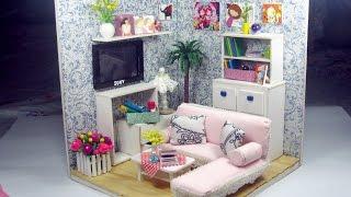 DIY Dollhouse Miniature Living Room (FULL Video)   Cách tự làm căn phòng khách cho búp bê   Ami DIY