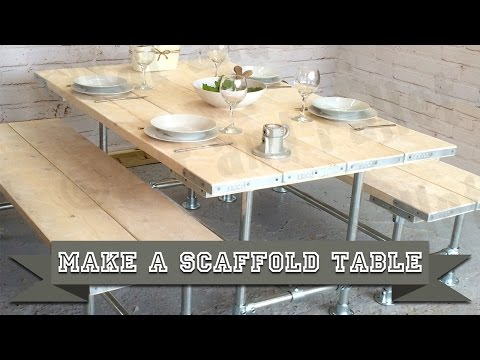 How to Make a Scaffold Table from Poles and Boards using Simple DIY Videos, Tools and Instructions