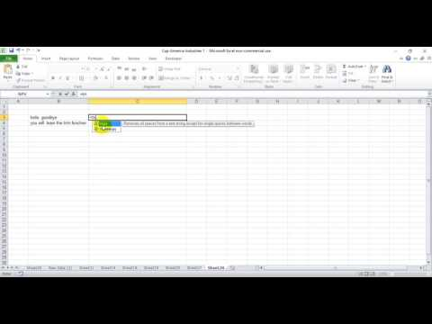 How to eliminate spaces in front of text in excel