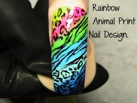 Rainbow Animal Print Nail Design.