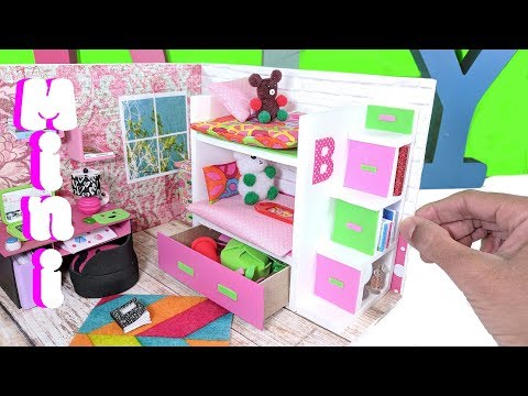 DIY Miniature Bunk Bed with Drawer & Bookcase for LOL, LPS, or Small Dolls