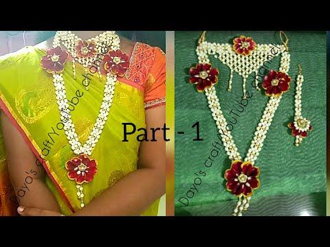 Part - 1 Bahubali style Flower Jewellery Tutorial