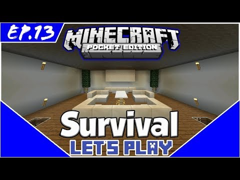 Lounge Room and Zombie Spawner - Survival Let's Play EP.13 - Minecraft PE(Pocket Edition)