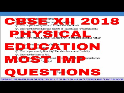CBSEXII 2018 most imp physical education questions and topics