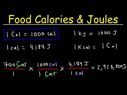Joules, Food Calories, & Kilojoules - Unit Conversion With Heat Energy - Physics Problems