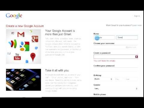 How to Sign up/ Create an gmail account!