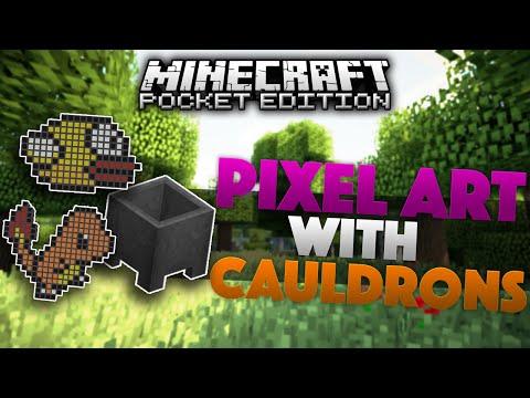 PIXEL ART USING CAULDRONS in 0.14.0 - Minecraft PE (Pocket Edition)