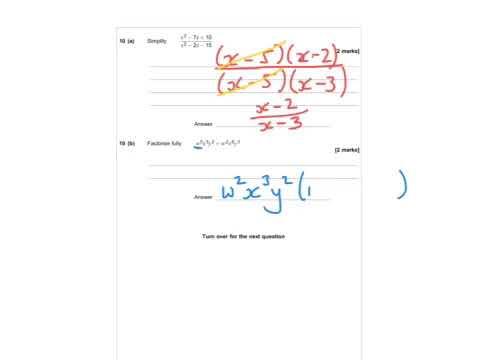 AQA Further Maths GCSE 2016 Paper 2 - Q10 - Simplifying & Factorising