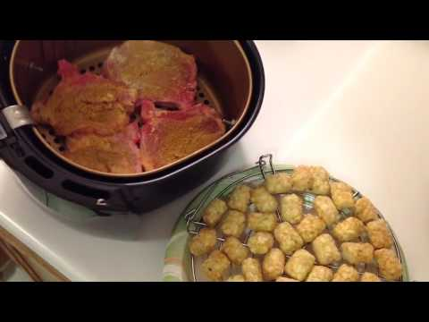 Air Fryer Breaded Pork Chops and Tator Tots