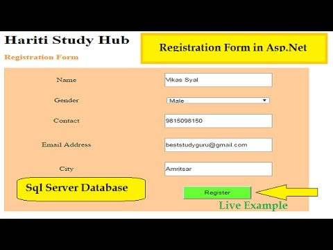Registration Form in Asp.Net C# with Sql Server Database | Live Example | Online Classes