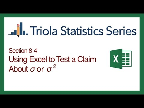 Excel Section 8-4: Using Excel to Test a Claim About Population St Dev. or Variance