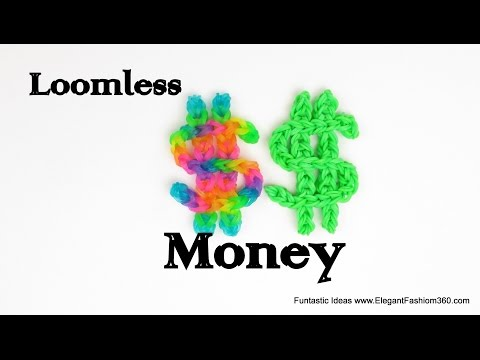 Rainbow Loom Money Sign Charm(Loomless) - How to