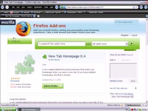Firefox addon review -  New Tab Homepage 0.4