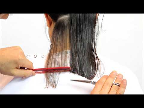 Learn how to cut a beautiful A-line for a long bob hairstyle short Tutorial