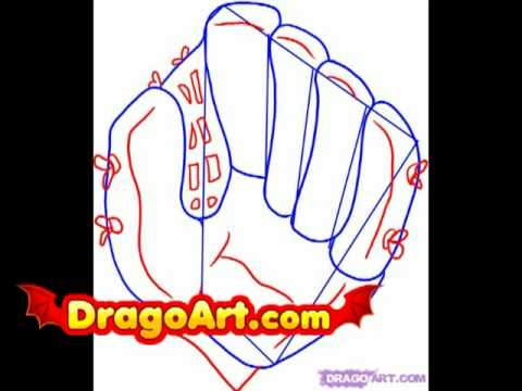How to draw a baseball glove, step by step
