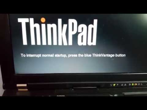 To interrupt normal startup press the blue thinkvantage button. (Lenovo ThinkPad T400)