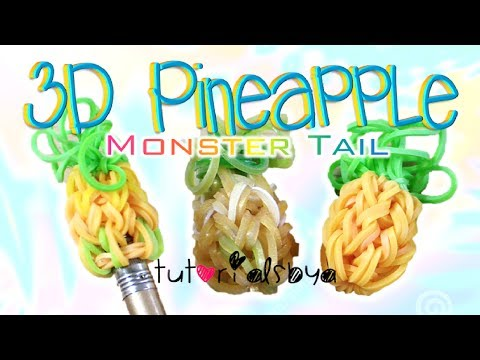 NEW 3D Pineapple Pencil Topper / Charm MONSTER TAIL Rainbow Loom Tutorial | How To