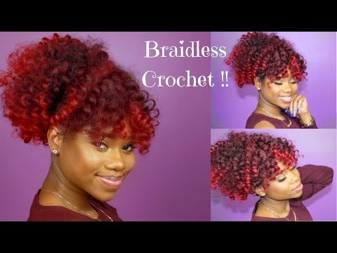 BRAIDLESS CROCHET - HIGH PUFF AND CURLY BANG || Jamaican BOUNCE Crochet Braiding Hair
