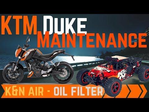 #110 🚲 KTM Duke 125 200 390 full service - Oil filter, air filter K&N Irridium Sparkplug kroon