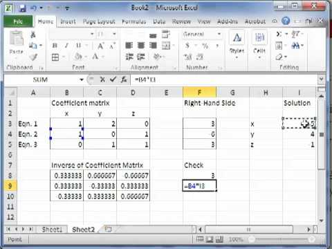 Solving Sets of Simultaneous Linear Equations in Excel